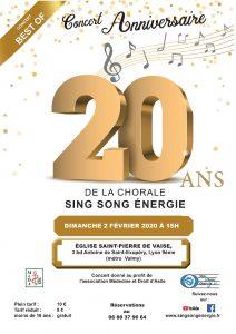 2 février 2020 à 15h : concert des 20 ans – Eglise St Pierre de Vaise, 3 bd Antoine de Saint-Exupéry 69009 Lyon